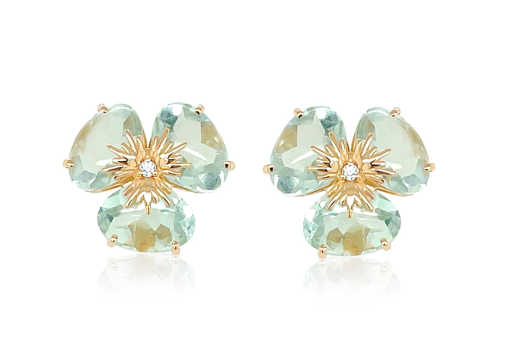 Pensée collection made in Brazil  Pensée earrings are inspired in Pansy flowers.  Prazolite gems  Two small diamonds   Set in 18k yellow gold  Secure & comfortable friction backs  12.50 mm