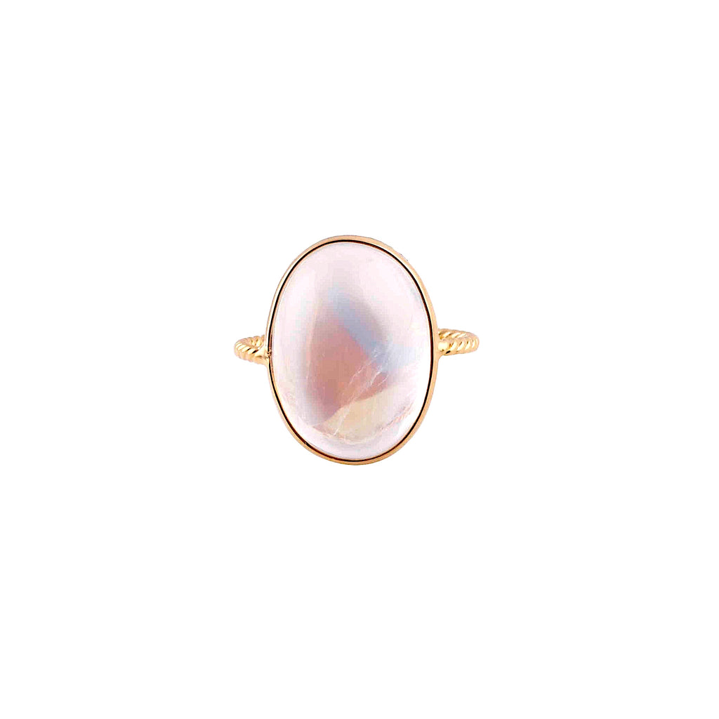 Large moonstone cabochon ring set in 18k yellow gold  14.00 mm x 9 mm wide  6.5 size (sizeable)