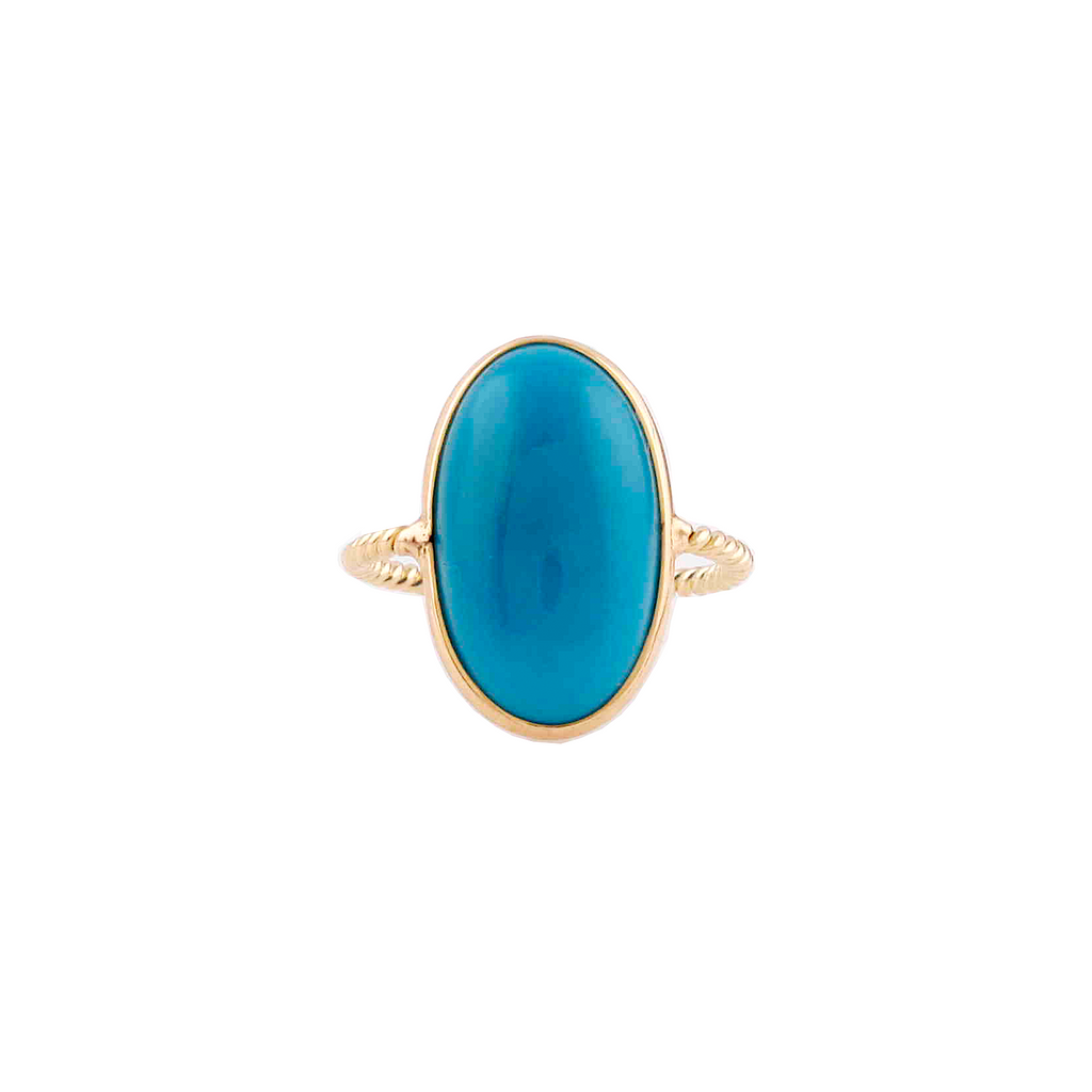 Large turquoise cabochon ring set in 18k yellow gold  20.00 mm x 13 mm wide  6.5 size (sizeable)