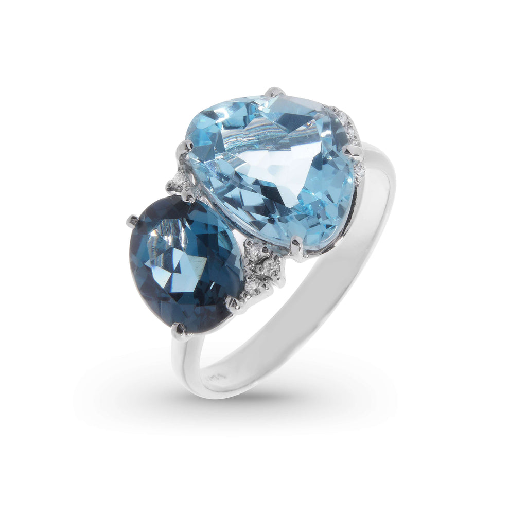 Blue London & Topaz Ring with Diamonds