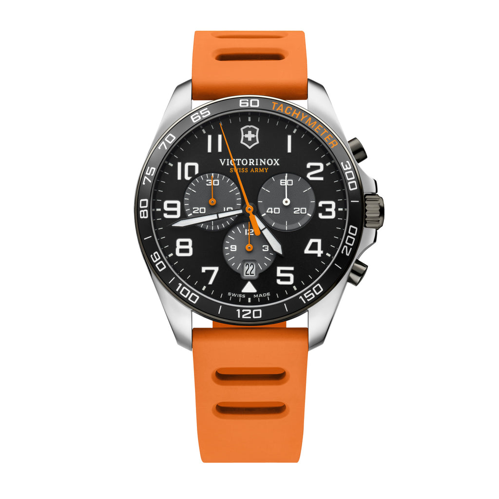 Sporty, colorful timepiece for every occasion. Swiss made watch with chronograph functions and tachymeter scale. Easy 24-hour readability thanks to generously sized hands and numerals with SuperLuminova® Item number 241893 Bracelet material genuine rubber Diameter 42 mm Collection Fieldforce Sport