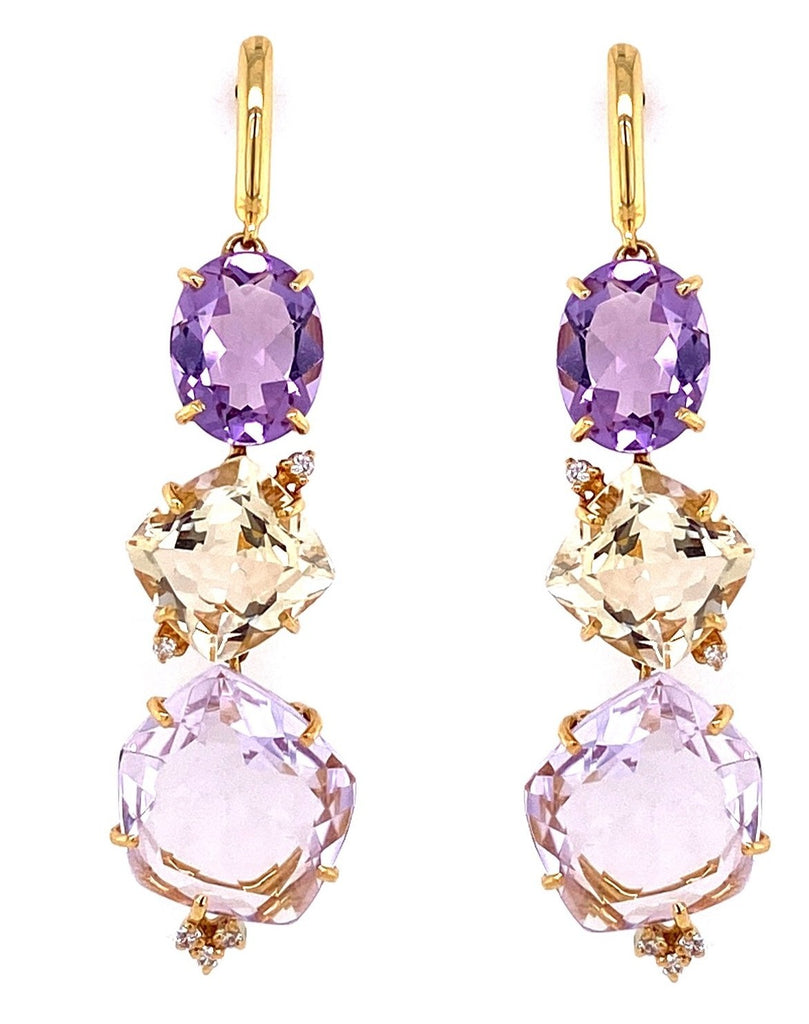 "From our Vianna Brasil collection  18k yellow gold drop earrings with secure friction back   Top round amethyst is placed in basket setting to give support to the ear  Amethyst, pink amethyst, citrine & small round diamonds 0.02 cts   2"" long (including gold bar)  8.00 mm to 13.00 mm wide"