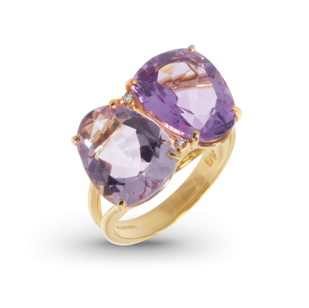 From our Vianna Brasil Collection  18k yellow gold   6.5 size (sizeable)  Oval cut amethyst & pink oval cut amethyst and round diamonds 0.02 cts  20.00 x 13.00 mm