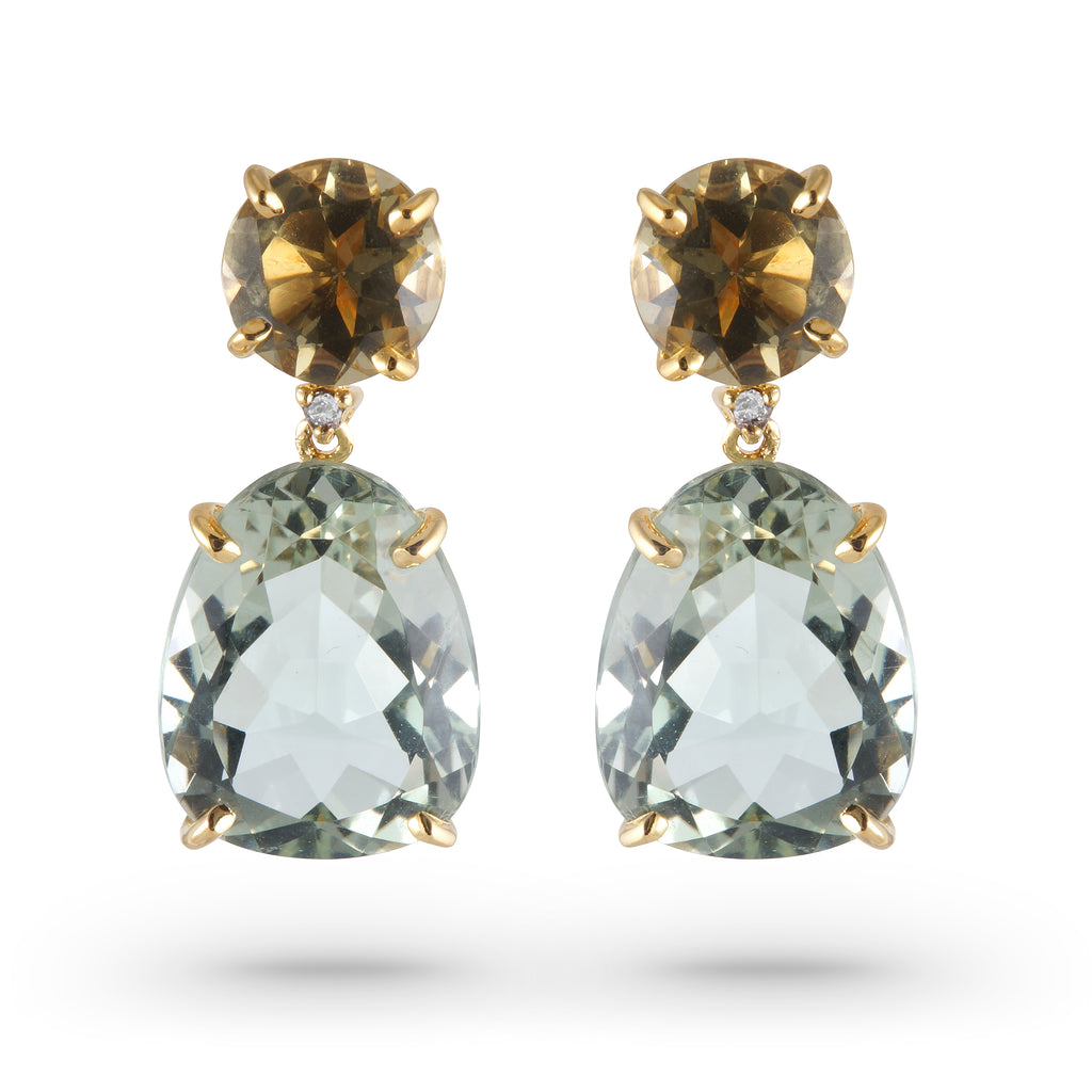 From our Vianna Brasil collection  Two green quartz, praziolite stones & diamonds  22.00 mm x 10.00 mm wide  18k yellow gold drop earrings with secure friction back