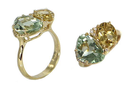 From our Vianna Brasil Collection  18k yellow gold   6.5 size (sizeable)  Green gold quartz, praziolite & round diamonds 0.02 cts  18.00 x 12.00 mm