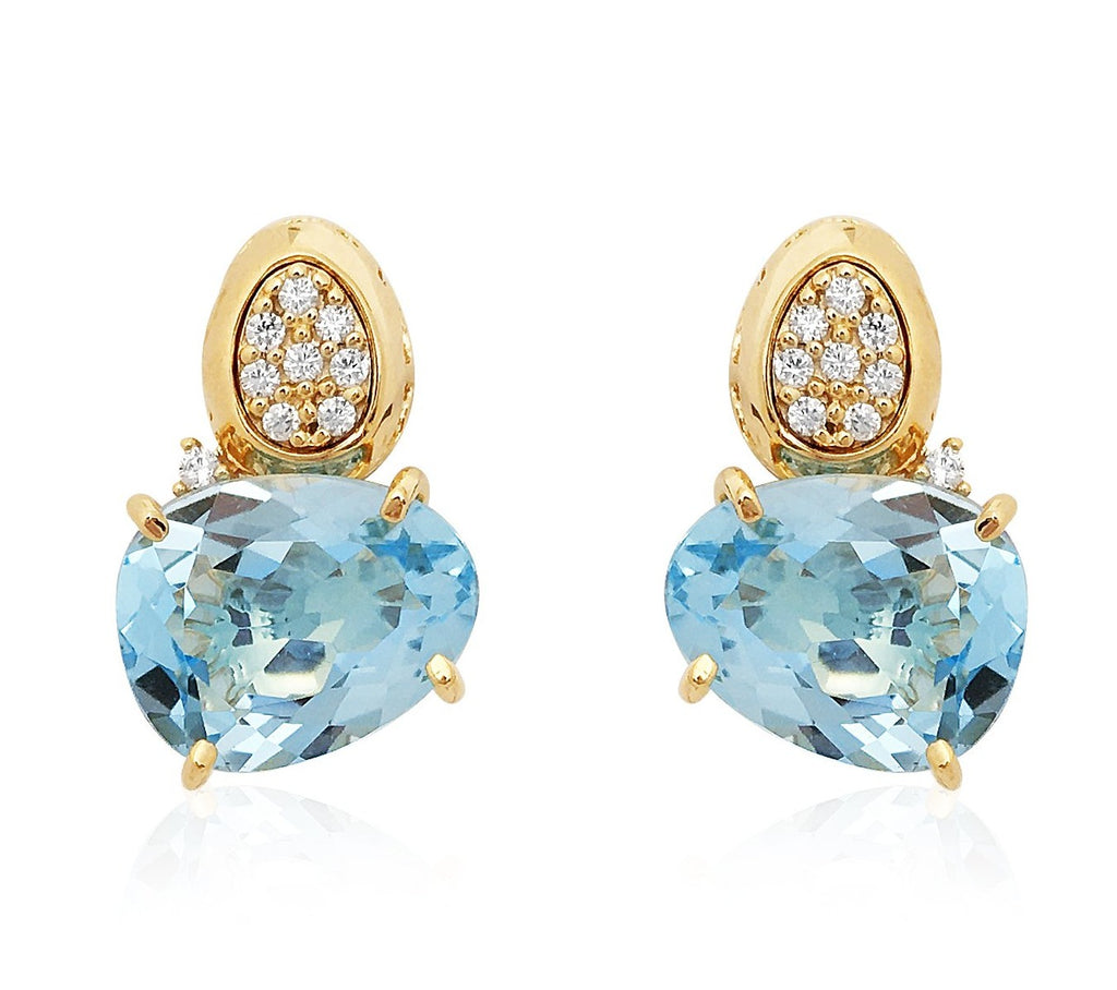 From our Vianna Brasil collection  Round diamonds & blue topaz stone.  15.00 mm x 10.00 mm wide  18k yellow gold drop earrings with secure friction back
