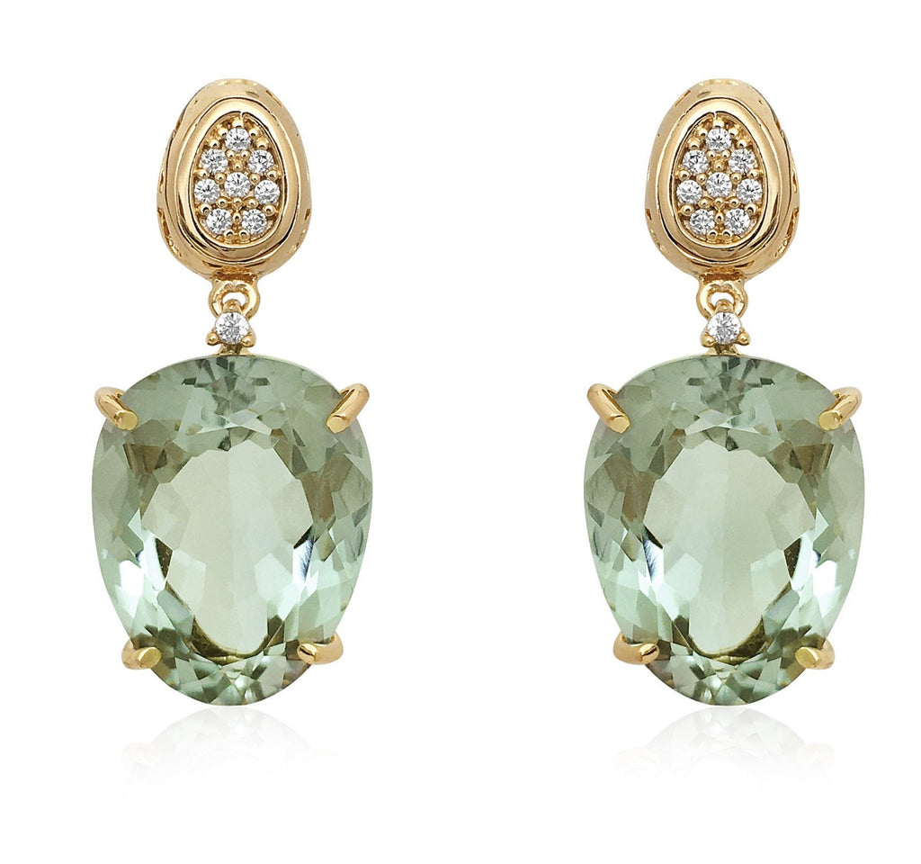 From our Vianna Brasil collection  Round diamonds & praziolite stone  26.00 mm x 15.00 mm wide  18k yellow gold drop earrings with secure friction back