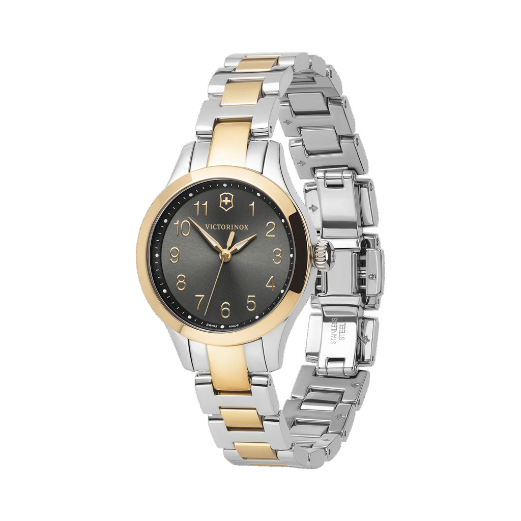 The delicate, detail-driven timepiece works for any occasion, with any outfit, becoming a constant in your busy day.  Feminine and timeless design for any occasion  Sunray brushed dial  Super Luminova on dots, hands and numerical indexes for easy readability Item number	241841 Bracelet material	stainless steel Diameter	28 mm Collection	Alliance