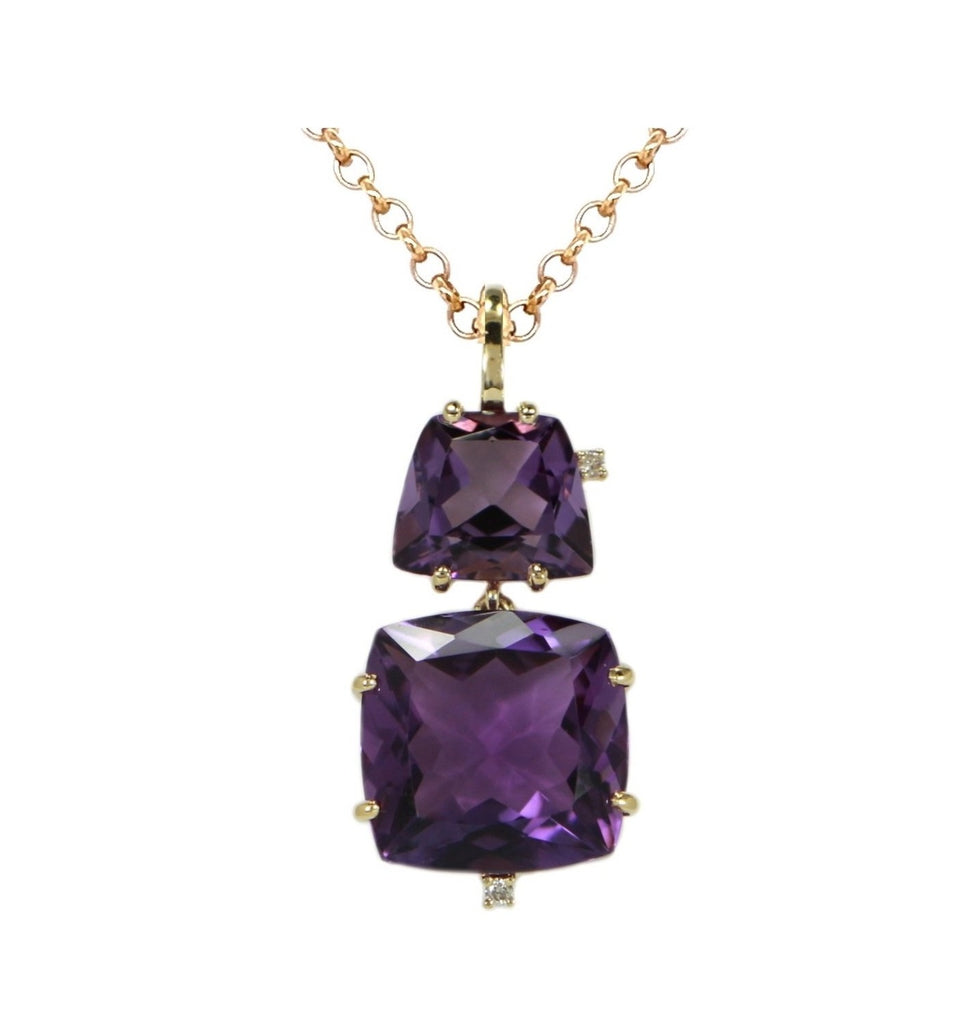 "Brazilian trapezoid shape Amethyst  18k yellow gold basket setting  23.00 mm double amethyst pendant 8.00 cts  Two small white round diamonds 0.02 cts  20"" Italian curb chain $530 (optional)"