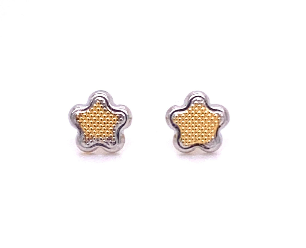 Beautiful baby earrings  Secure baby screw backs  18k yellow and white gold  Two Tone Flower design  5 mm
