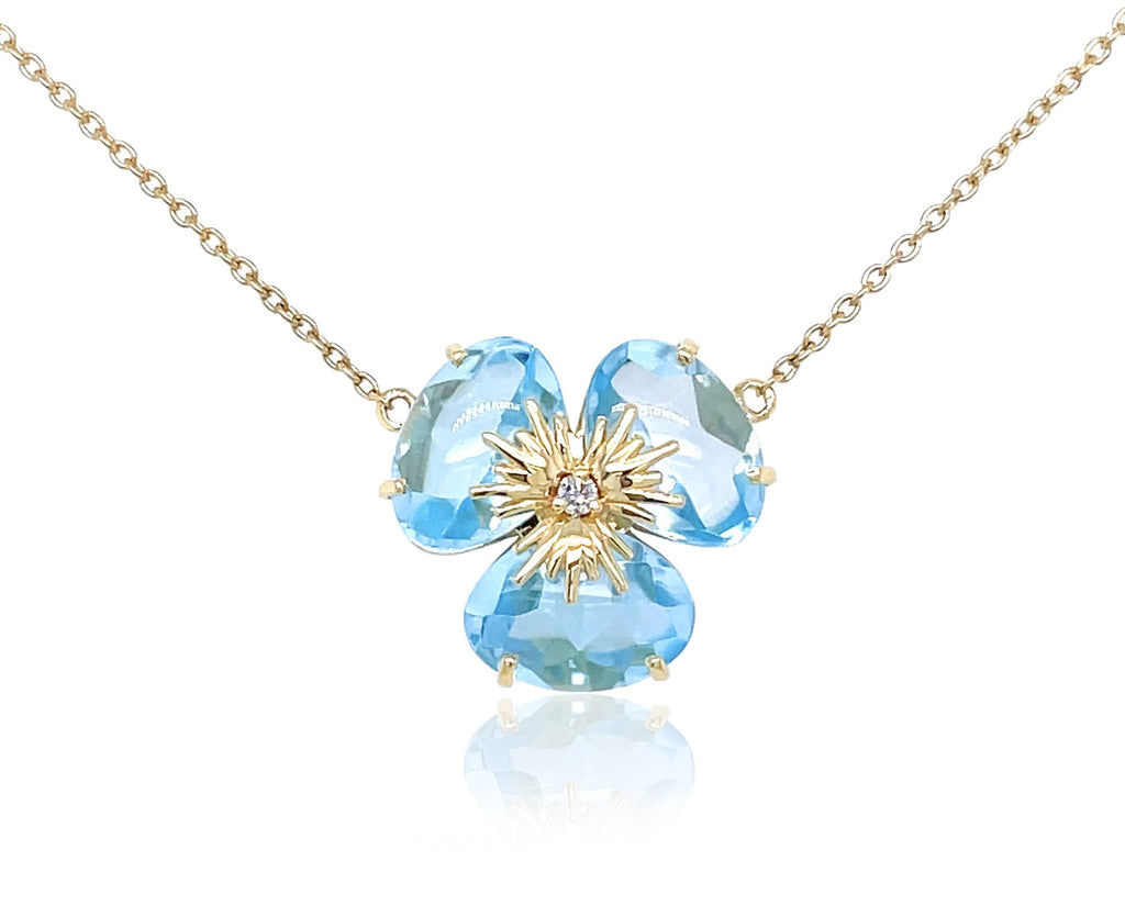 "Pensée collection made in Brazil  Pensée earrings are inspired in Pansy flowers  Blue Topaz  One small diamond  Set in 18k yellow gold  18"" long with sizing loop at 16""  Secure lobster clasp.  17.50 mm flower."