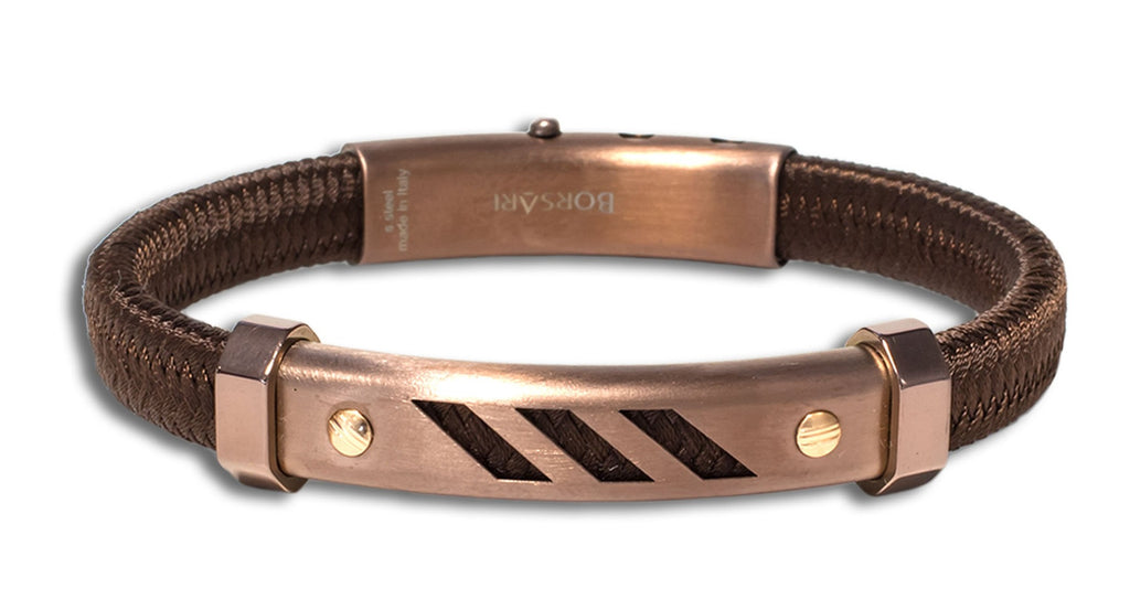"This bracelet created a sporty and elegant look  Italian made stainless steel bracelet  Rose gold screws  8"" long  Secure adjustable clasp  Brown polyester."