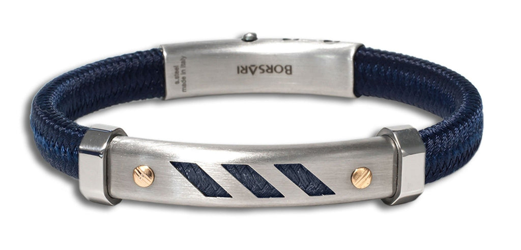 "This bracelet created a sporty and elegant look  Italian made stainless steel bracelet  Rose gold screws  8"" long  Secure adjustable clasp  Blue polyester"