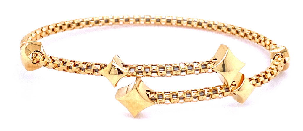 From our Stella Millano Italian Jewelry  18k Italian Yellow Gold  Wish collection  6 solid stars   Flexible bangle