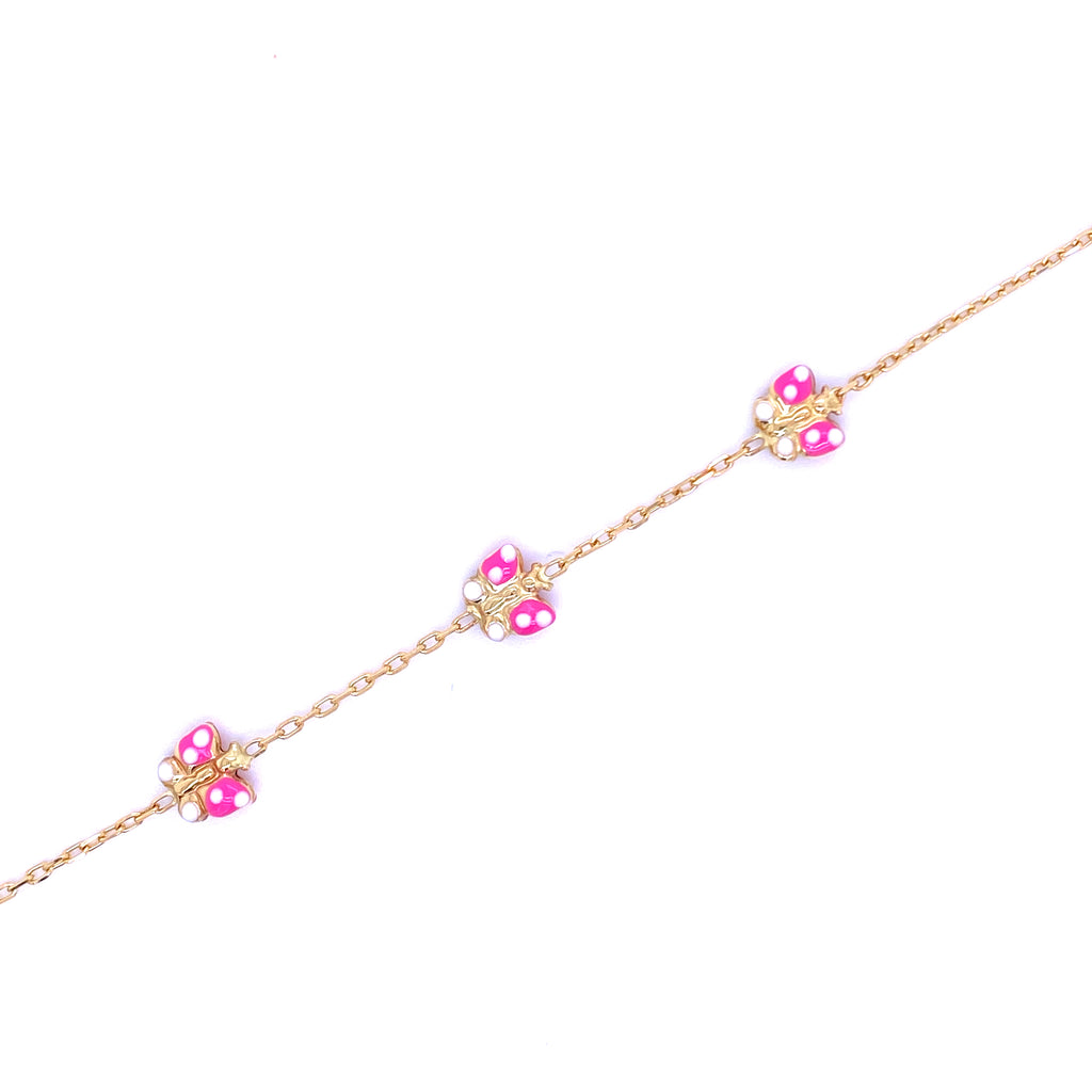 Gold Butterflies Covered in Pink Enamel  Baby/Child Size  3 Pink Butterflies  5 1/2 '' Bracelet  Butterfly 7 mm