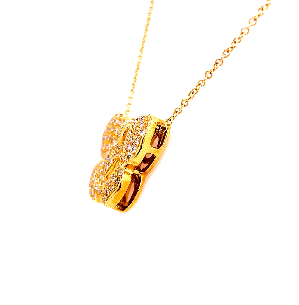 "18kt yellow gold  Round diamonds 1.20 cts  16.00 mm x 20.00 mm   5.00 mm thick  High quality diamonds   18"" yellow gold chain ($205 optional) with secure lobster catch  Gallery finish at the back  Slide system"