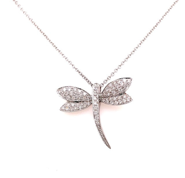 "18kt white gold  61 round diamonds 0.42 cts  20.00 mm long  25.00 mm width (wings)  High quality diamonds   18"" white gold chain with sizing loop at 16"" ($250.00 optional)  Secure lobster catch"