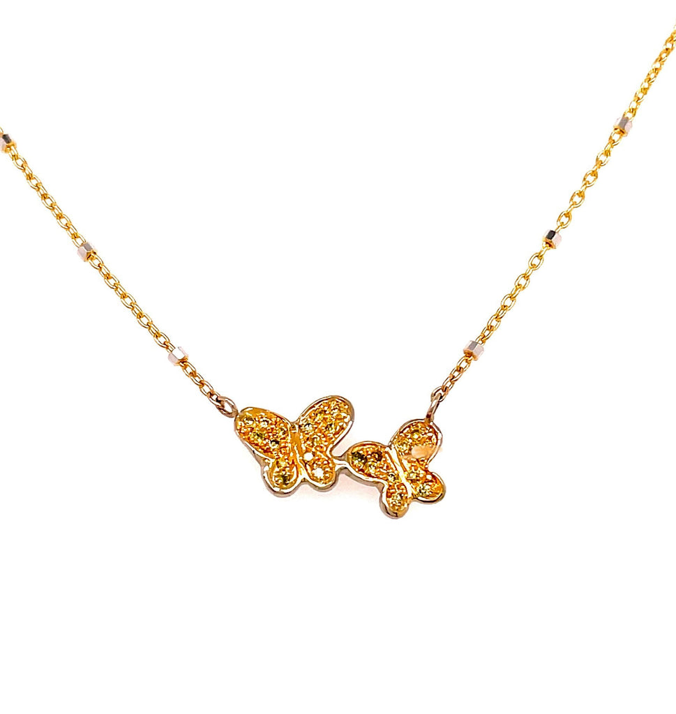 "14k yellow gold necklace  Double butterfly pendant with diamonds 0.25 cts  Secure lobster clasp  13.00 mm long x 9.00 mm wide  High quality diamonds   16"" italian two tone gold cha"