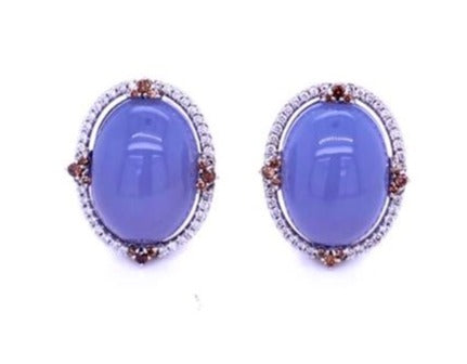 Italian made Chalcedony and diamond earrings  Chalcedony cabochon 30.37 cts   Set in 18k white gold mounting.  White & cognac round diamonds 0.98 cts creates a beautiful bezel setting.  Gallery design at the back of the ring.  Clip secure back & post  23.00 mm long x 218.00 mm wide
