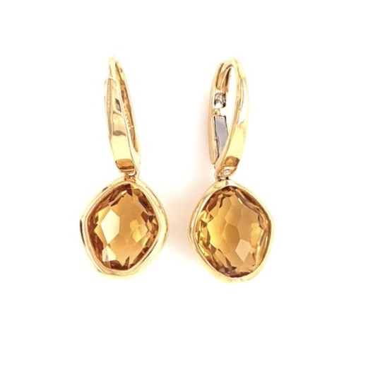 From Vianna Brasil collection  Large oval shape citrine earrings   Two small diamonds  29.68 mm x 11.40 mm wide   18k yellow gold with solid gold lever back