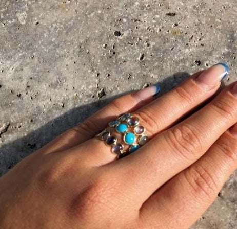 Oval Blue Topaz Stackable Ring