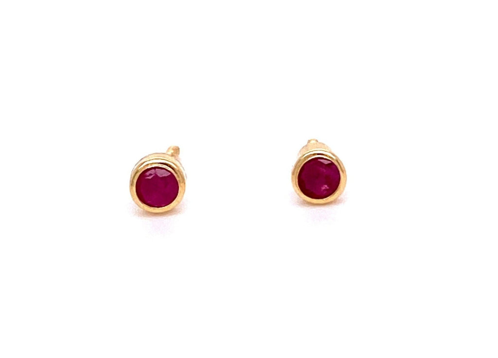 Beautiful baby earrings  Secure baby screw backs  18k yellow gold  Two ruby stone   4 mm
