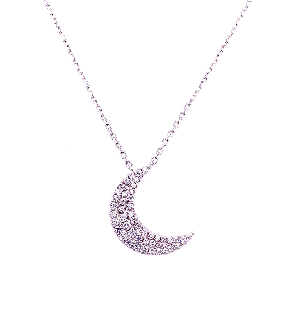 "Gorgeous diamond crescent moon pendant   0.28 cts round diamonds  Set in 18k white gold  Secure lobster clasp  18"" long chain with sizing loop at 16"""