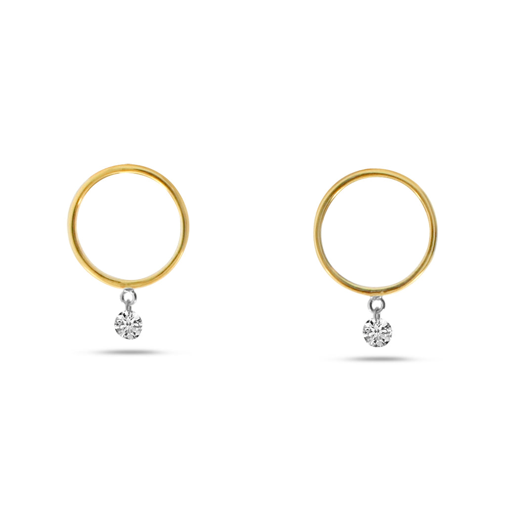 These dangling diamonds are set in 14k yellow gold hoops. These round diamonds 0.20cts are always moving.  11.46 mm long  Secure friction backs