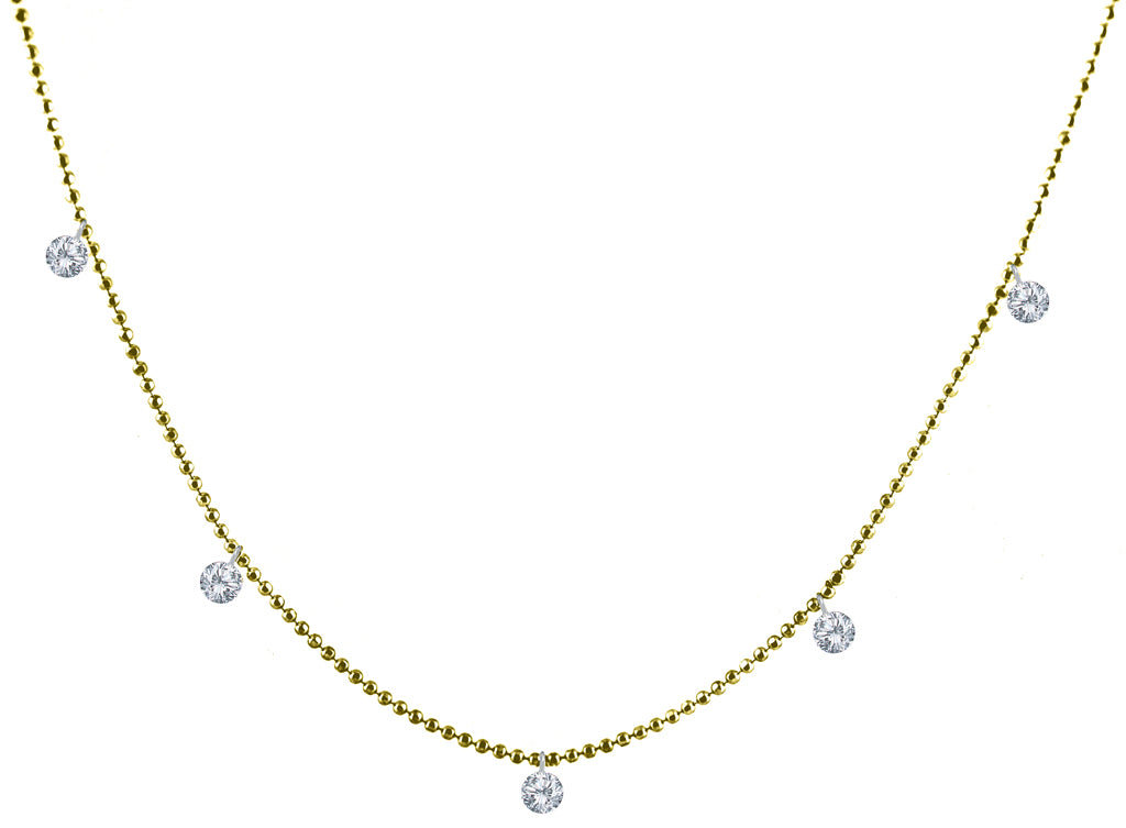 "Six dangling diamonds set in 14k yellow gold chain. White round diamonds 0.50 cts  18"" long with secure lobster clasp."