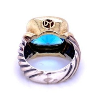 From our Estate Jewelry Section  Signed by David Yurman  18k yellow gold  Sterling Silver  Blue Topaz