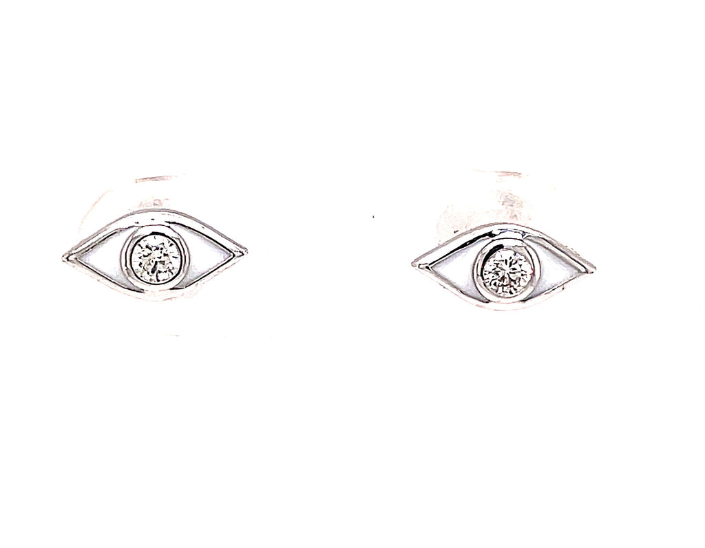 Set in 18k white gold  Two small round diamonds 0.11 cts  Secure friction backs  White enamel