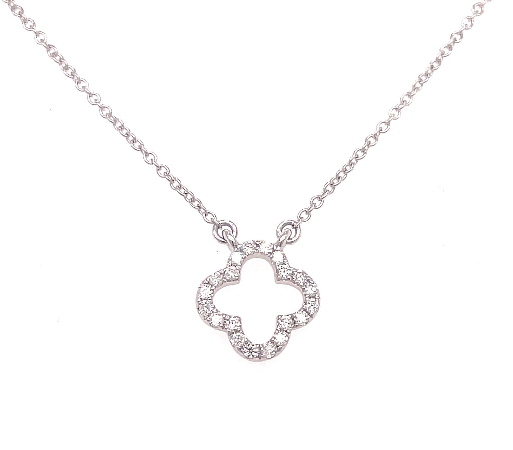 "Diamond clover necklace  0.13 cts  Set in 14 white gold   18"" long with sizable loop at 16""  Secure lobster catch"