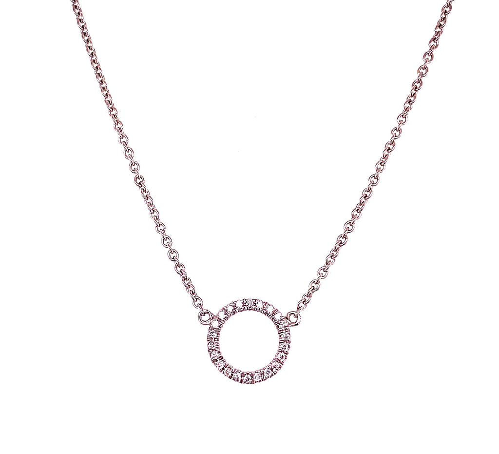 "Dainty diamond necklace.  14k white gold  Secure lobster clasp  Small diamonds 0.07 cts  17"" long with sizing loop at 16"""