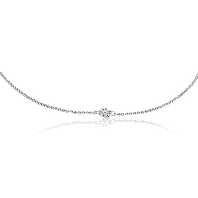 "One single diamond necklace. One round white diamond 0.15 cts   18"" long with secure lobster catch."