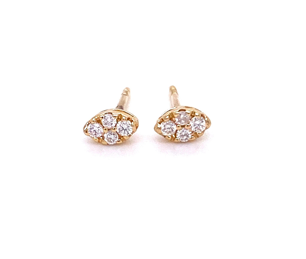 Small diamond stud earrings 14k yellow gold  Secure friction backs  8 white round diamonds 0.10 cts  5.00 mm long