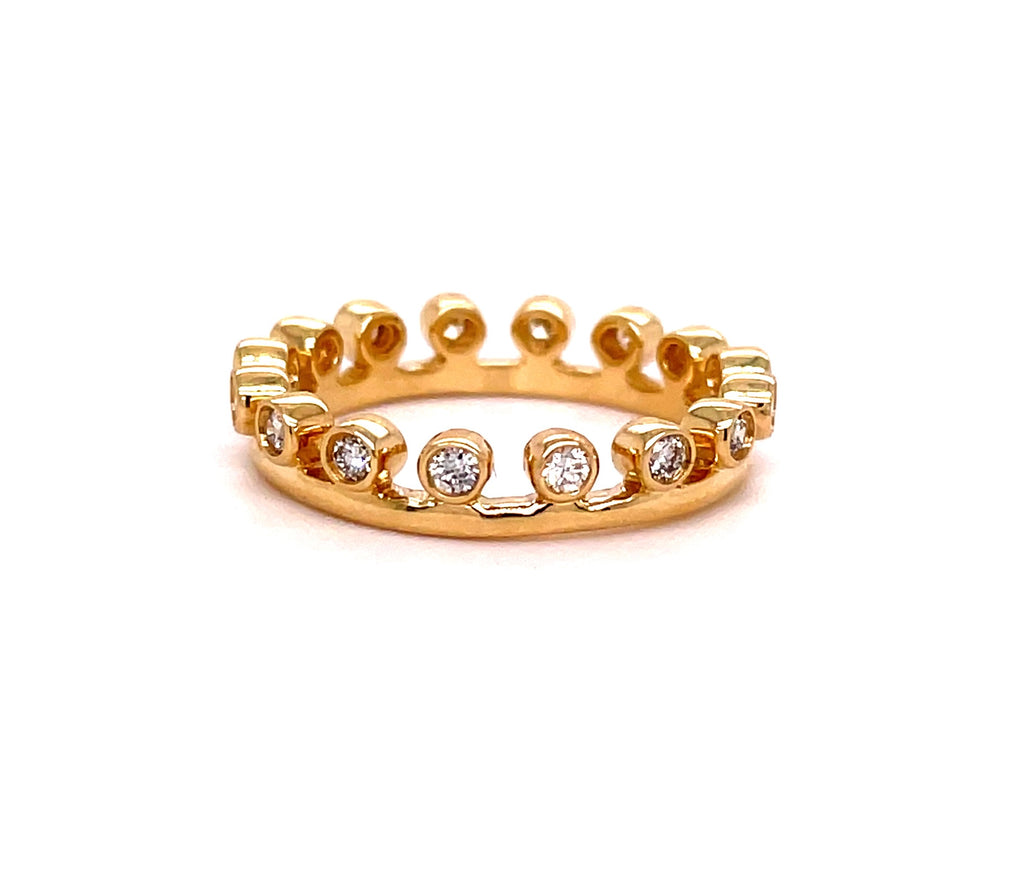Bezel set diamonds 0.37 cts  Set in 14k yellow gold mounting.  Size 6  Diamond accent crown eternity style  Easy to stack
