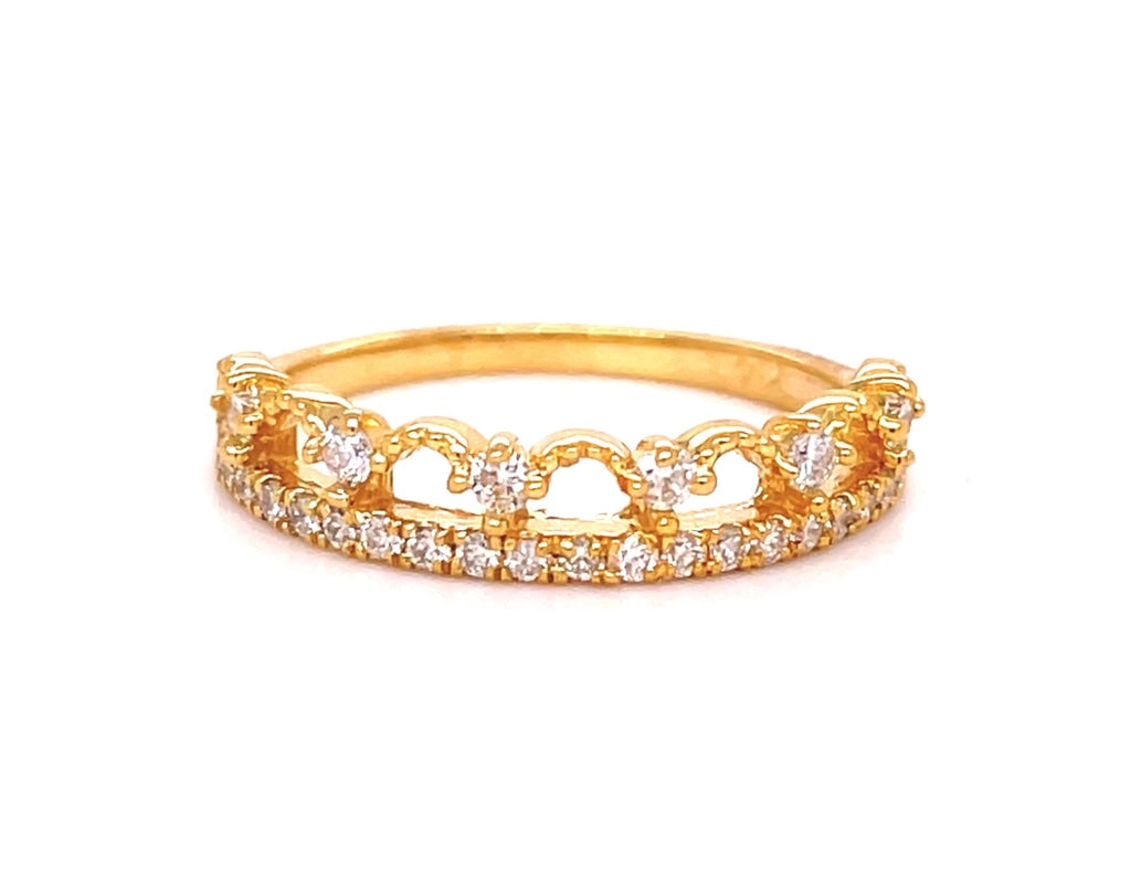 Diamonds 0.36 cts  Set in 14k yellow gold mounting  Size 6  Diamond accent crown  Easy to stack