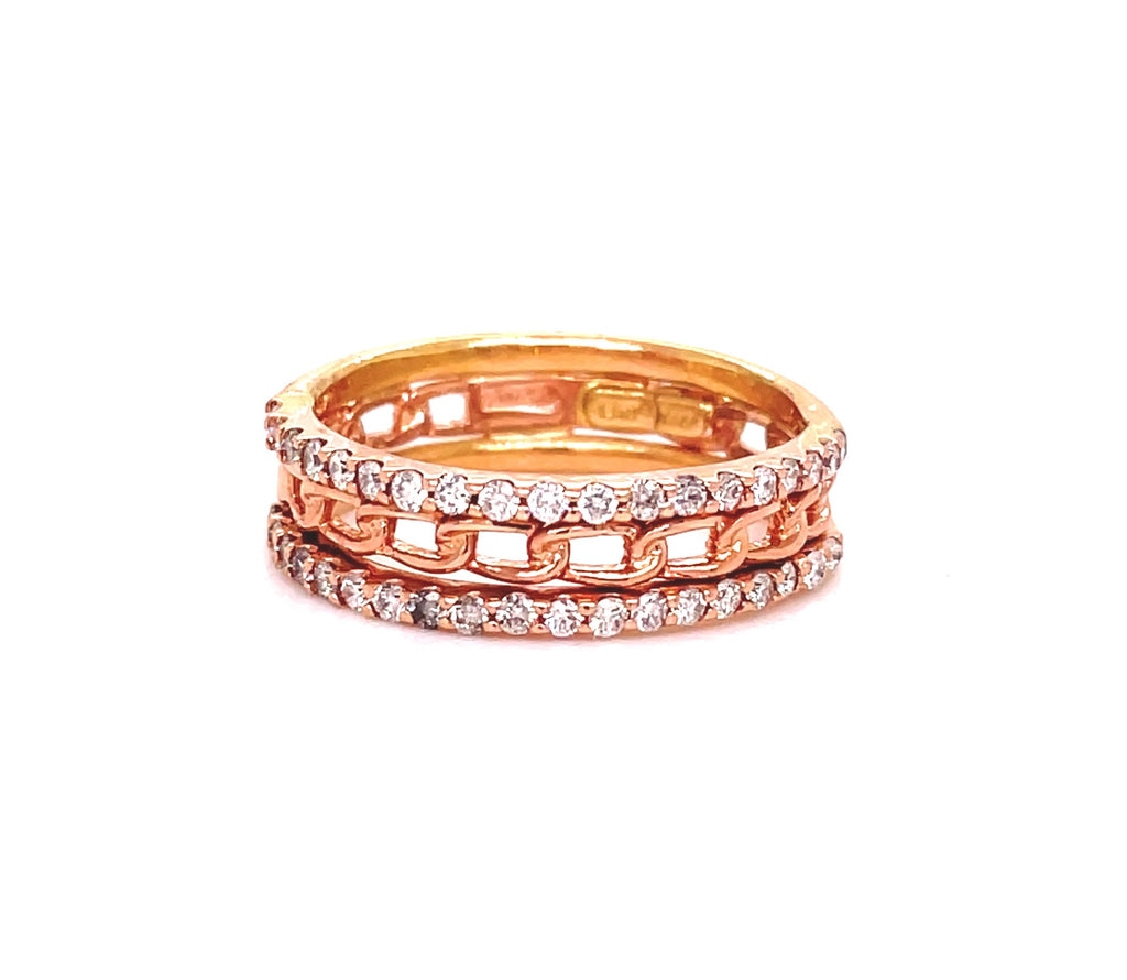 Diamonds 0.33 cts  Set in 14k yellow gold mounting  Three rings in one  Chain link eternity style.  Size 6  Two row of diamond eternity band and one chain link band