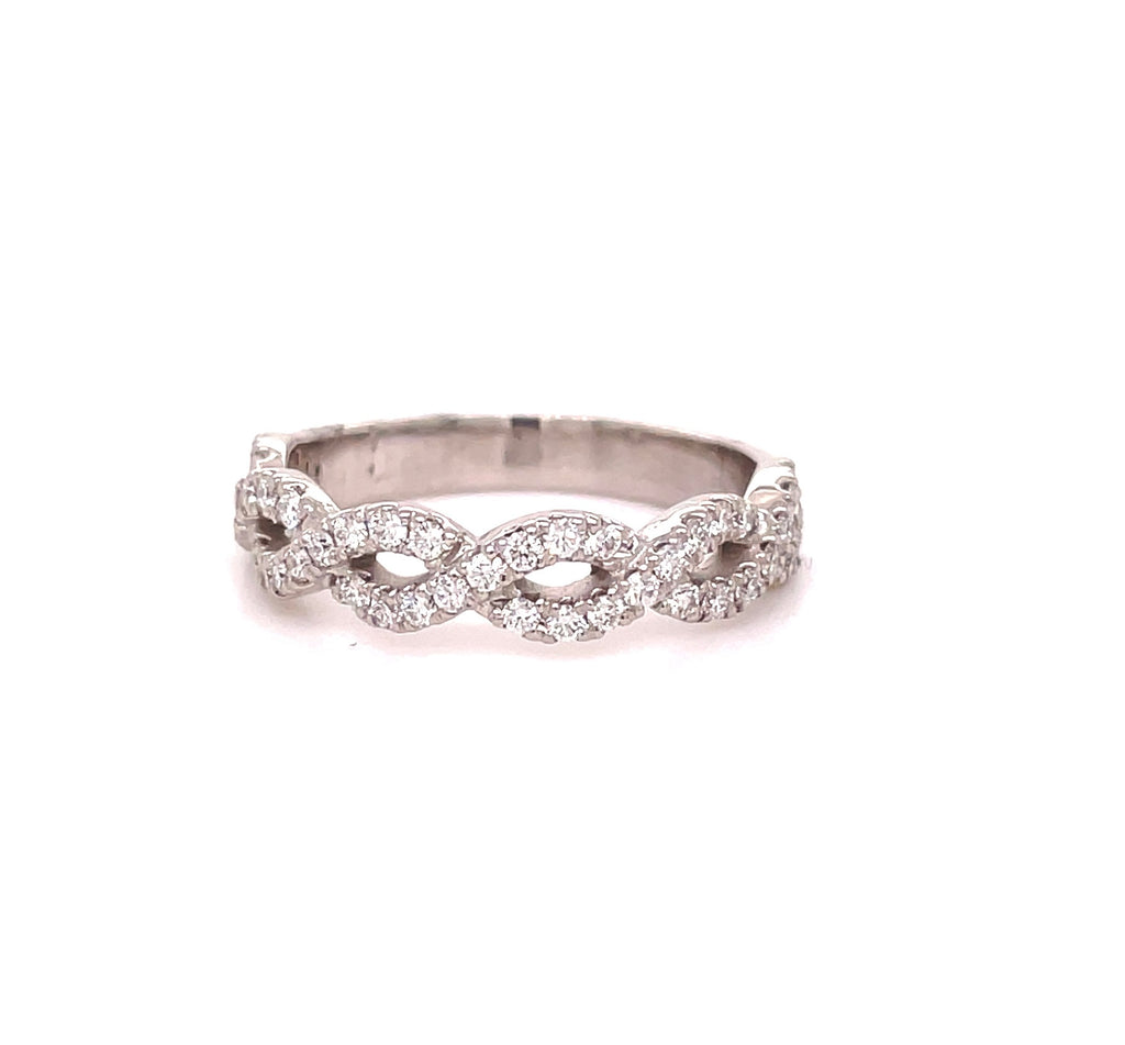 Diamonds 0.75 cts.  Set in 14k white gold mounting.  Size 6  Infinity style  Easy to stack