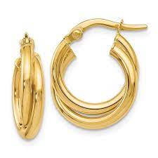 14k Italian gold  Secure latch  Double twist  23 mm diameter  Easy to wear  6.50 mm thickness