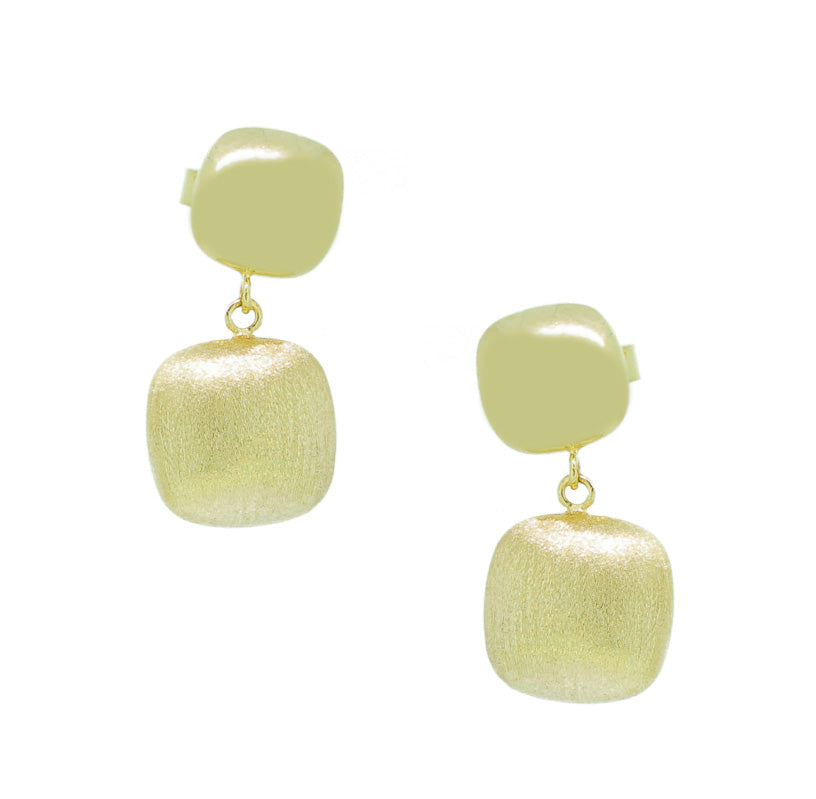 Two Square Brushed Square Shape Drop Earrings