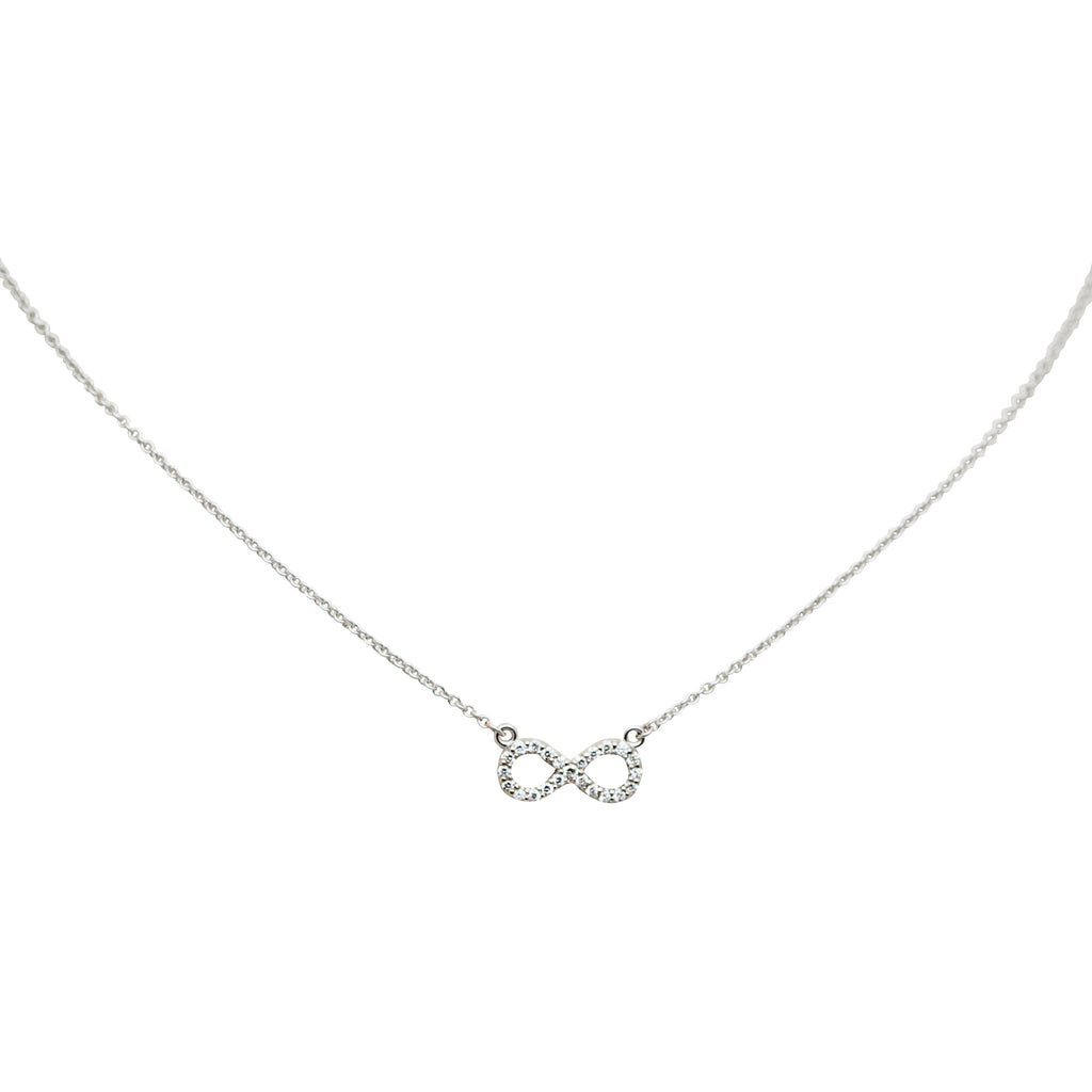 "Infinity diamond necklace. 14k white gold.  Spring clasp  18"" long with sizing loop at 16""  White round diamonds 0.20 cts   Infinity sign 12 mm long"