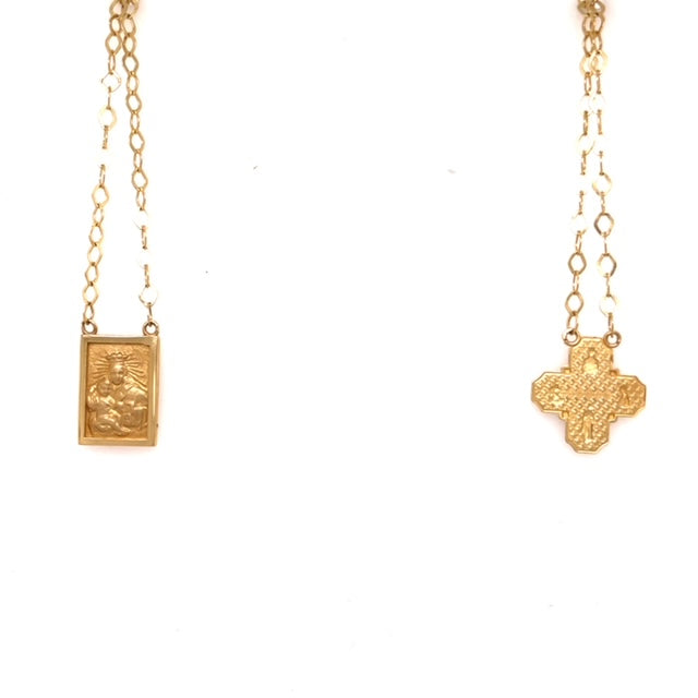 "14k yellow gold scapular  Italian made  16"" long  Virgin Mary & Sacred Heart Medal of Jesus  Matte finish Four way cross known was Cruciform"