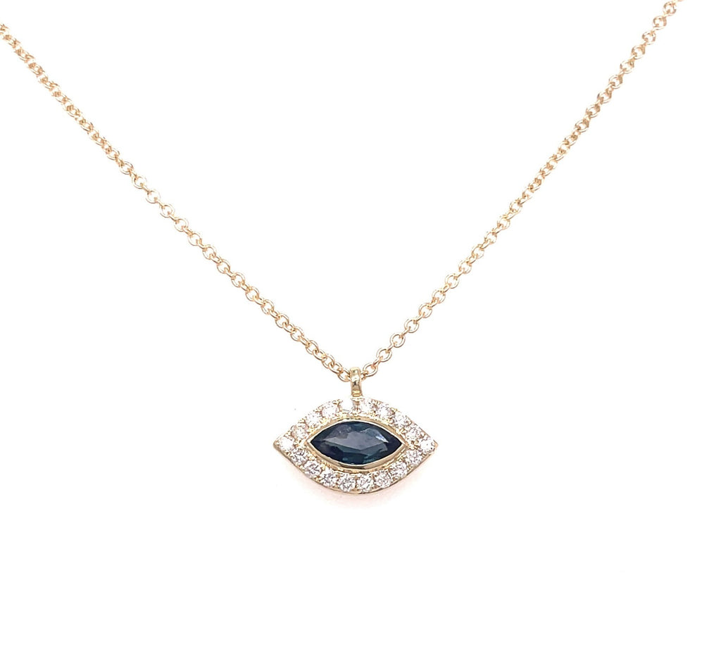 "Dainty diamond necklace  14k yellow gold.  Secure lobster clasp  Round diamonds 0.12 cts  Oval sapphire     0.28 cts  17"" long with sizing loop at 16"""