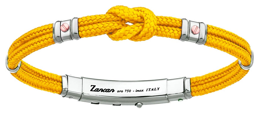 "Italian made sterling silver bracelet  Rhodium coated  8"" long  1"" adjustable slide lock  Yellow color cord"