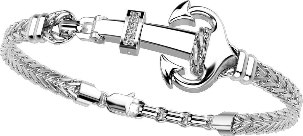 "Italian made sterling silver bracelet  White sapphires  Rhodium coated  8"" long  Secure lobster clasp  Wheat link in two row bracelet   1"" of sizing loop"