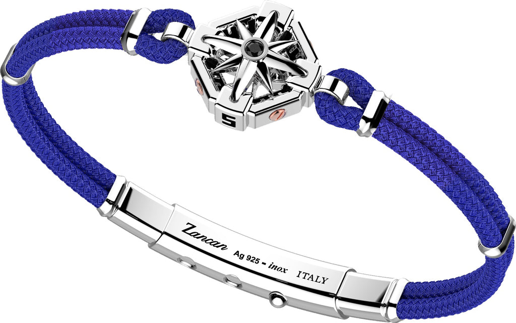 "Italian made sterling silver bracelet  1"" long sterling silver Compass Rose  Rhodium coated  8"" long  Adjustable slide lock  Blue color cord"