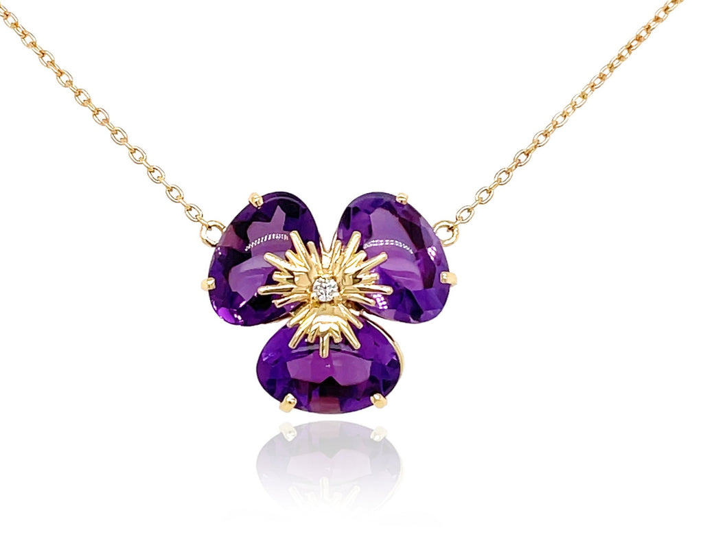 "Pensée collection made in Brazil  Pensée earrings are inspired in Pansy flowers  Amethyst  One small diamond  Set in 18k yellow gold  18"" long with sizing loop at 16""  Secure lobster clasp.  17.50 mm flower."