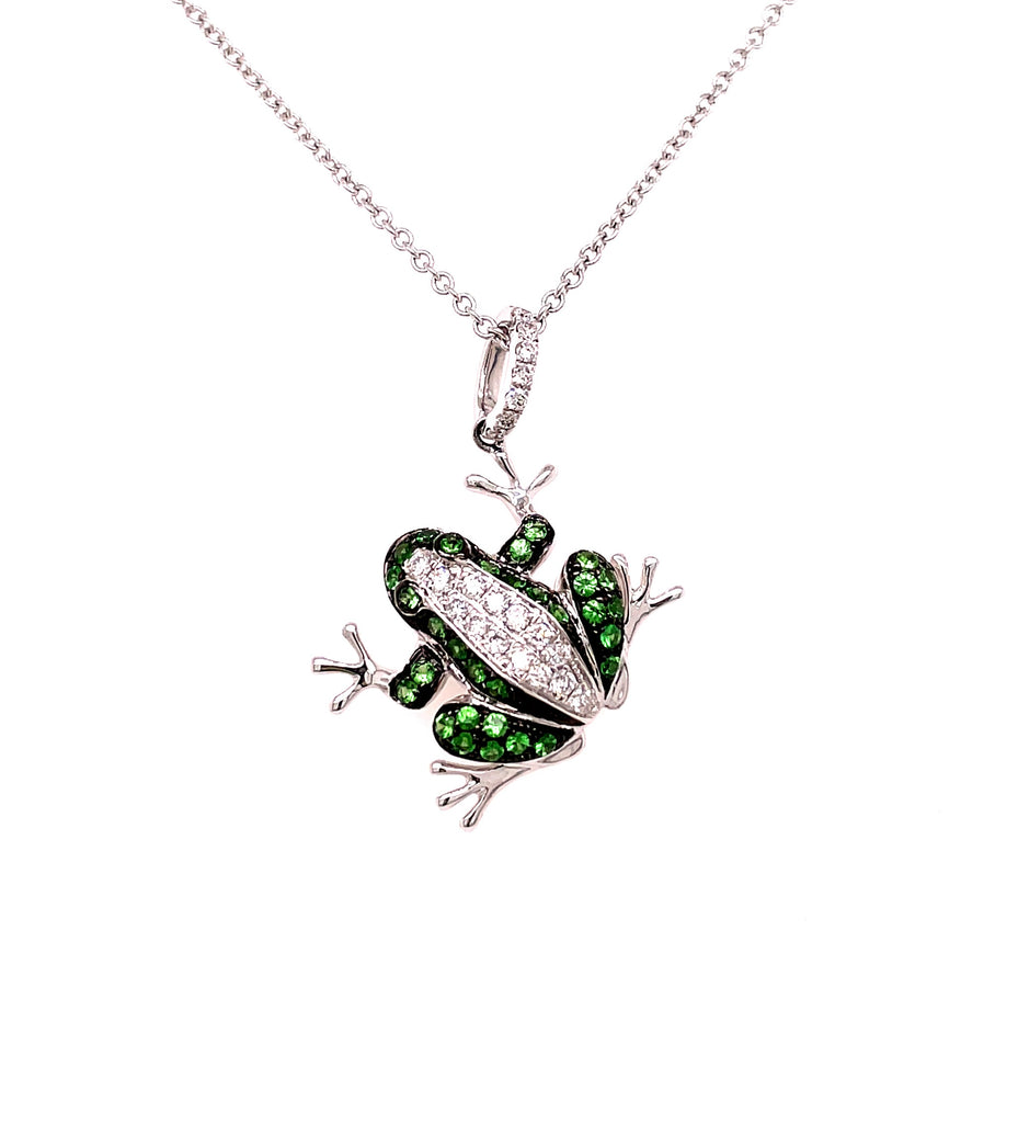 "18kt white gold  Super cute frog  Round diamond 0.17 cts  Savorite stones 0.34 cts   27.00 mm x 19.00 mm (including bail)  18"" white gold chain with secure lobster catch ($205.00 optional)"