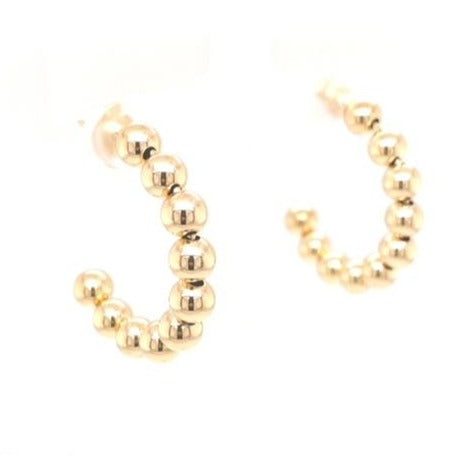 14k Italian Yellow Gold Medium Beaded Hoop Earring